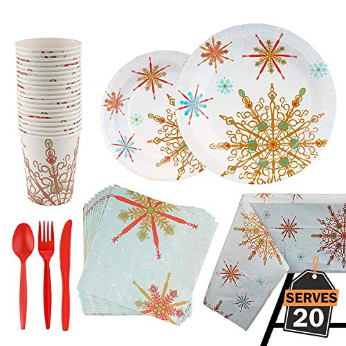 141 Piece Christmas Party Supplies Set Including Plates,