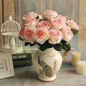 XGM GOU 9 Heads/Bouquet Artificial Silk Decorative Rose Flower for Wedding Party Decoration Bouquet 6 Colors 5