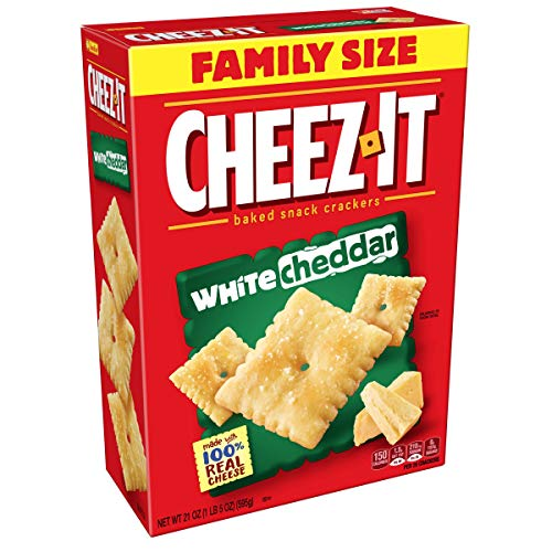 (Cheez-It Baked Snack Cheese Crackers, White Cheddar, Family Size, 21 oz Box(Pack of 3))