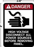 """Danger High Voltage Disconnect All Power Sources Before Removing Panel Decal Sticker Placard 3.4""""W X 5""""H"""