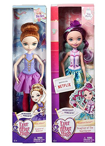 Ever After High Tea Party Madeline Hatter Doll & Holly O'Hair Ballet Dancer Powerful Princess (Monster High Mad Hatter)