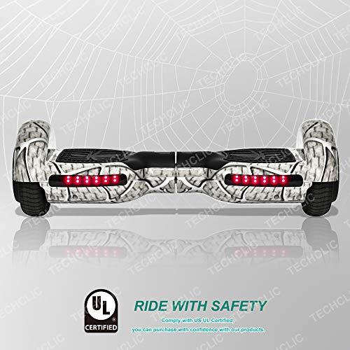 TechClic Spider Electric Hoverboard with Built-in Speaker and LED Side Lights Wheels self Balancing Scooter Dual Motors Hover Board UL2272 Certified (White)