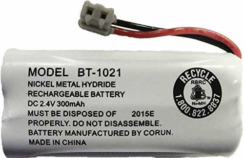 Uniden BT-1021 Replacement Rechargeable Battery For many Uniden Phone Systems and Cordless Handsets, Nickel Metal Hydride Rechargeable Battery, DC 2.4V 300mAh ()