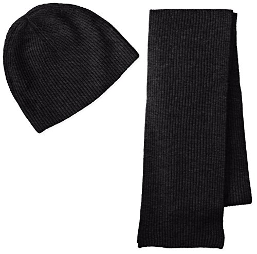 Cashmere Ribbed Scarf (Williams Cashmere Men's Ribbed Hat and Scarf Boxed Set, Charcoal, One Size)