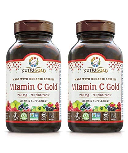 Nutrigold Vitamin C Organic Berry Blend for Superior Antioxidant Protection and Immune Support (90 Vegan Capsules) Pack of 2