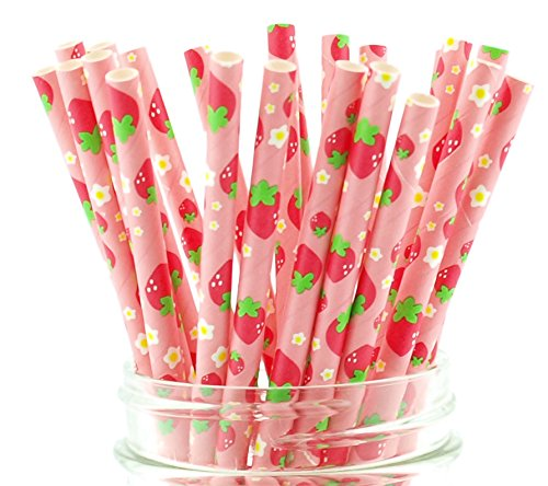Strawberry Party Straws (25 Pack) - Great for Strawberry Shortcake Birthday Party Supplies, BBQ Summer Party Supplies, Pink Strawberries Paper Straws, Berry Sweet -