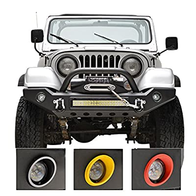Tidal 76-86 Jeep Wrangler CJ Full Width Front Bumper With LED Lights Bars & Colored Light Surrounds