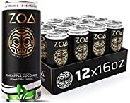 ZOA, 100 Calorie Energy Drink, Pineapple Coconut, 16 fl. oz. (Pack of 12) - Supports Healthy Immunity, Focus,