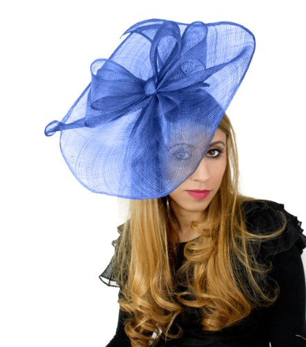 Hats By Cressida 16 Inch Commodore Sinamay Ascot Fascinator Hat Women's With Headband - Royal Blue by Hats By Cressida