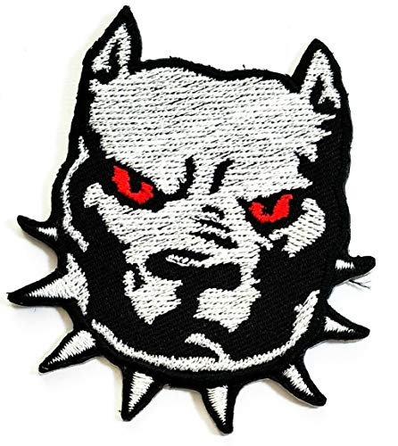 Nipitshop Patches Gray Head Pitbull Dog Kids Cartoon Patch Applique for Clothes Great as Happy Birthday -
