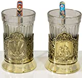 craftsfromrussia Set of 2 Russian Tea Glasses with Traditional Decorated Metal Holders and Teaspoons (Design A, Brass)
