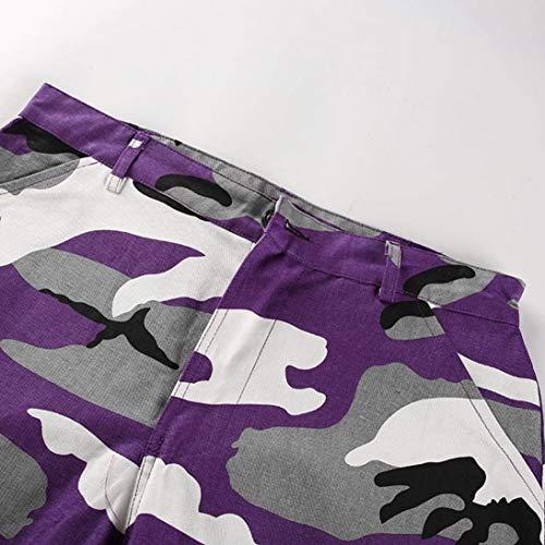 Bolsillos Street Botones Pantalones Baile Laterales Vaqueros Casuales De Gelb Carga Camuflaje Deportivo Mujer Para Exteriores Mujeres Camo IZOZrg