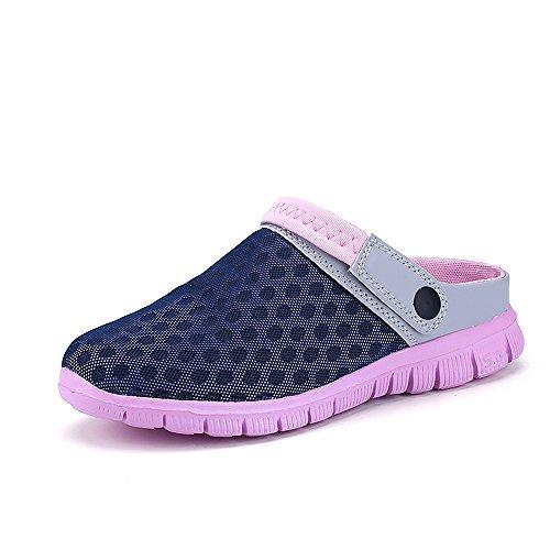 Bwiv Herren/ Damen Clogs Hausschuh Badeschuhe Gartenschuhe Umweltfreundlich Leicht EVA Sohle Mit Wasserdicht Schuhe Tasche Dunkelblau und rosa