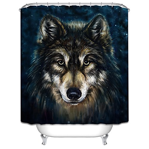 Monadicase Lonely Wolf Polyester Bathroom Curtains Width X Height / 72 X (Chambray Wallpaper)