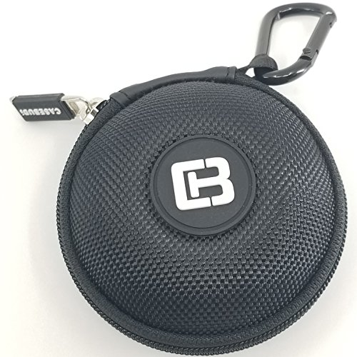 CASEBUDi Round Earbud and Phone Charger Storage Case with Carabiner | Black Ballistic Nylon