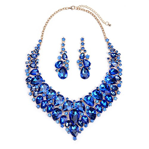 Wedding Jewelry Sets - Blue Crystal Rhinestone Statement Necklace and Dangle Earrings Teardrop Sets for Brides Cyber Monday Week Deals (Blue Necklace Earring)