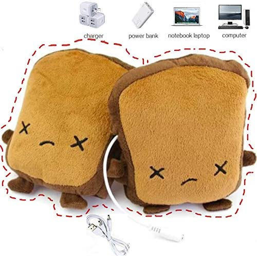 USB Hand Warmers Cute USB Heating Gloves Half Wearable Fingerless 5V USB Powered Heated Hand Warmer GlovesGift Box for Women and Children Winter Fashion (Brown) / USB Hand Warmers Cute USB Heating Gloves Half Wearable Fingerless 5V...