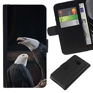 [Neutron-Star] Modelo colorido cuero de la carpeta del tirón del caso cubierta piel Holster Funda protecció Para HTC One M9 [Eagle Bald American National Symbol]