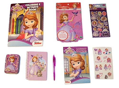 Disney Sofia the First Activity Gift Set ~ Gifted and Gracious (Coloring Book with Crayons, Stickers, Tattoos, Puzzle in a Tin, Activity Booklet, Stationery Set with Pen; 7 Items, 1 (Sofia The First Tattoos)
