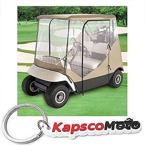Resistente al agua superior Beige y transparente para carro de golf cubre almacenaje Club coche,