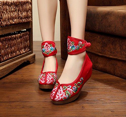 ZLL Fein gestickte Schuhe, Leinen, Sehnensohle, ethnischer Stil, weibliche Schuhe, Mode, bequem, Segeltuchschuhe , beige , 38