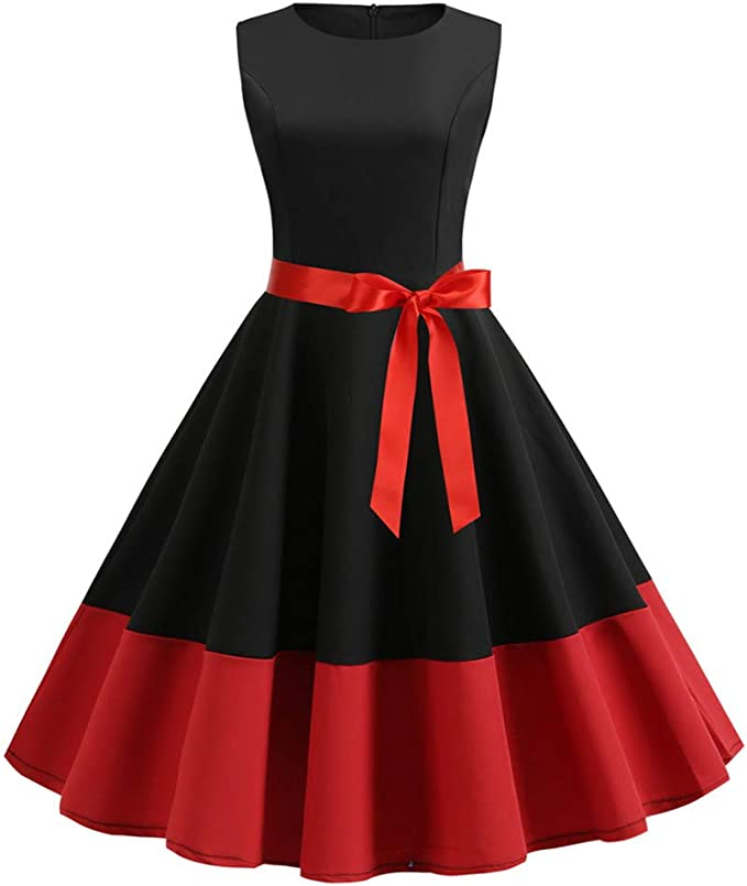 Dresses for Women Bodycon Dresses Vintage Sleeveless Casual Retro Evening Party Prom Swing Dress