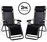 KEPLIN Set of 2 Black Heavy Duty Textoline Zero Gravity Chairs | Garden Outdoor Patio Sun Loungers | Folding Reclining Chairs | Lounger Deck Chairs (BLACK)