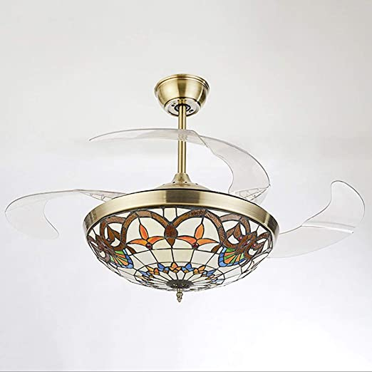Tiffany Ventilador de Techo con luz, lámpara de Techo de Metal ...