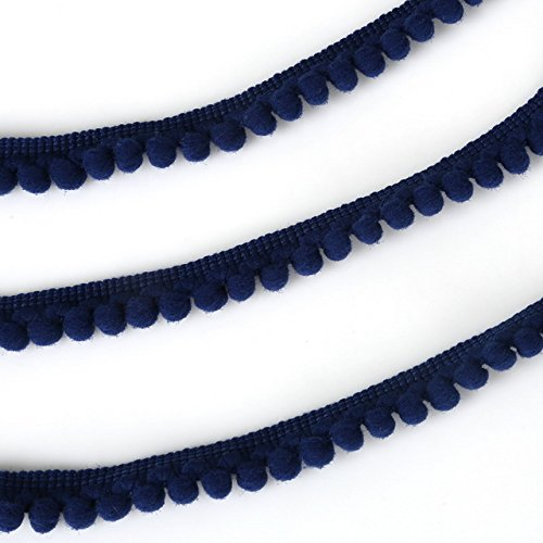 Yalulu 10 Yards Mini Pom Pom Trim Ball Fringe Ribbon Tassel DIY Craft Sewing Accessory for Home Curtain Clothes Pillow Decoration (Navy Blue)