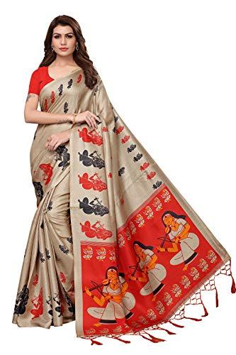 Anni Designer Magenta Khadi Silk Printed Sarees For Women With Blouse Piece