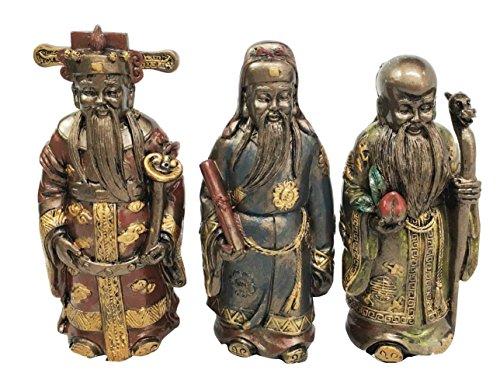 Fu Lu Shou Gods San Xing Three Stars Deity Prosperity Status Longevity Figurine Set