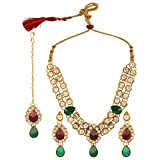 Efulgenz Indian Ethnic Bollywood Faux Ruby Emerald Rhinestone Bridal Designer Kundan Necklace and Earrings Jewelry Set with Maang Tikka in Antique 18k Gold Tone for Women and Girls