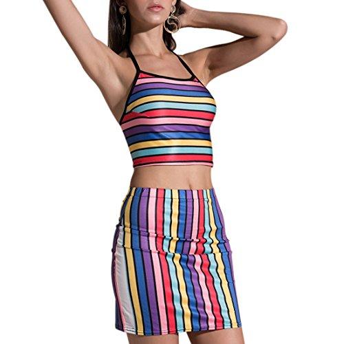 Top en arco sexy piezas 2 Crop dos con con Conjunto colores de de de color Halter falda verano iris qBcwOH