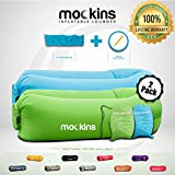 Mockins 2 Pack Inflatable Lounger Air Sofa Perfect for Beach Chair Camping Chairs or Portable Hammock and Includes Travel Bag Pouch and Pockets | Easy to Use Camping Accessories…
