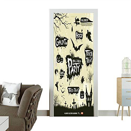 (Homesonne Waterproof Decoration Door Decals Happy Halloween Silhouette Collections Design,Vector Perfect Ornament W31 x H79)