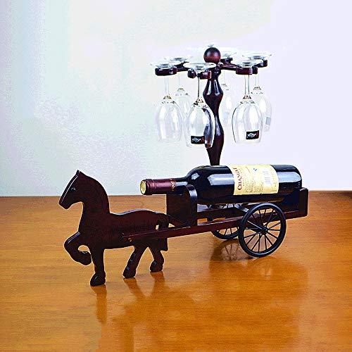 - Tritow Wine Rack Horse-Drawn Carriage Wine Bottle Rack Solid Wood European Creative Living Room Wine Cabinet Decoration Ornaments Display Stand Bar Restaurant Home Dining Tablewine Cup Holder Gift