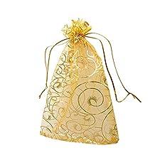 100pcs Champagne Eyelash Organza Drawstring Pouches Jewelry Party Wedding Favor Gift Bags 10x12cm