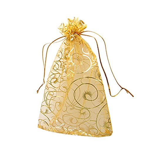 (100 Pack Organza Gift Bags Gold Champagne Wedding Party Favor Bags Jewelry Pouches Wrap (Gold)
