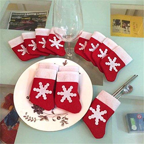 HENGSONG 12 Stück Weihnachtsdeko Weihnachten Bestecktasche Besteckhalter Weihnachtsbaumschmuck Tischdekoration Weihnachtsstrümpfe Socken Rot