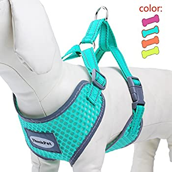 """ThinkPet Reflective Breathable Soft Air Mesh Puppy Dog Vest Harness Neon Green Neck 14-17.5""""/Chest 15-20"""""""