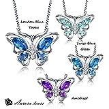 Aurora Tears Women Elegant Gemstone Butterfly Pendant Necklace Chain