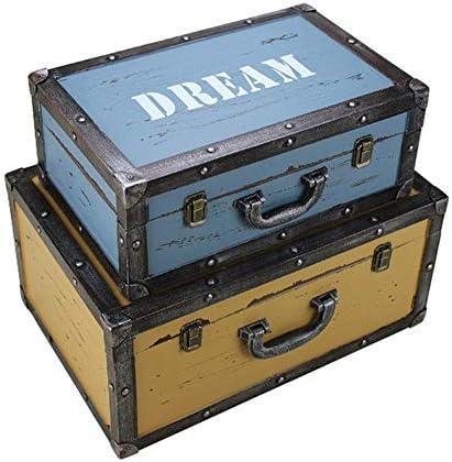 Zxyan (:マルチカラー、サイズ:大+小カラー)ホームデコレーションスタッシュボックスの2つの海軍ストレージトランクスレトロなストレージボックススーツケースのウィンドウデコレーションを表示デコレーションオーナメントのセット、 収納ケース