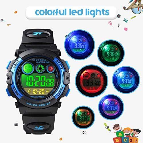 Montres Enfants garçons, Montre numérique Digitale 5 étanche 12/24H/chronomètre/EL colorée, électroniques Montres Bracelets garçons Enfants de Couleur Bleu