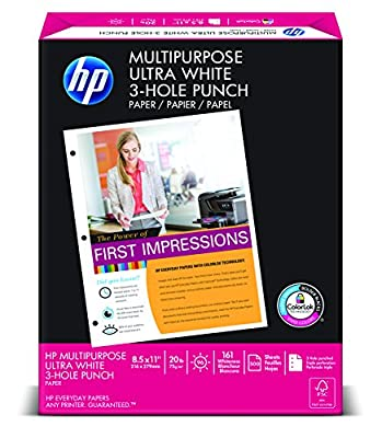 HP Multipurpose Ultra White, 20lb, 8.5 x 11, 3-Hole, 96 Bright, 500 Sheets/1 Ream (113101)