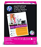 HP Multipurpose Ultra White, 20lb, 8.5 x 11, 3-Hole, 96 Bright, 500 Sheets/1 Ream (113101) (Office Product)