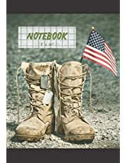 NOTEBOOK: Military - Graph paper Notebook, Journal, Diary - Quad Ruled Composition Notebook - 100 pages - Medium 7x10''