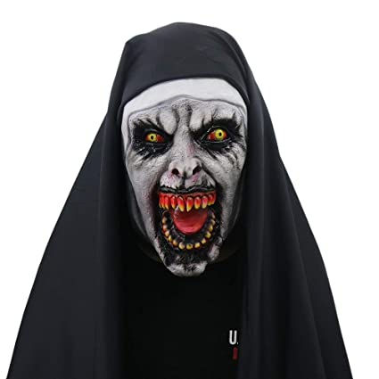 Halloween Mask Nun Costume for Women-Mask with Veil Scary Zombie Mask Party Supplies