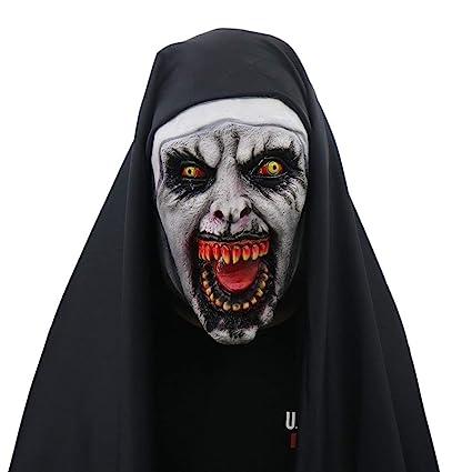 Jdskk Máscara de Halloween Disfraz de Monja para Mujer-Máscara con Velo Scary Zombie Máscara