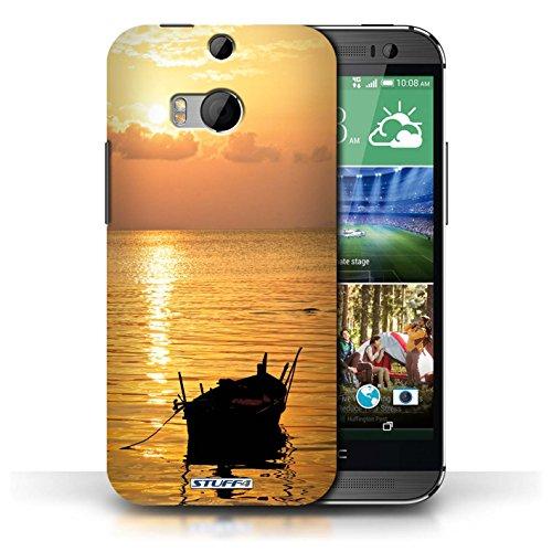 Etui pour HTC One/1 M8 / Bateau de pêche conception / Collection de Coucher du Soleil