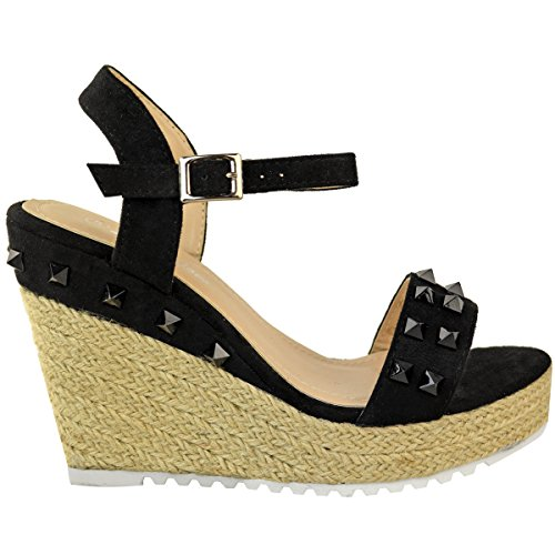 Suede Black Fashion Wedge Summer Heels Studded Thirsty Size Womens Sandals Faux High Shoes Espadrille Strappy 66Aw7xq